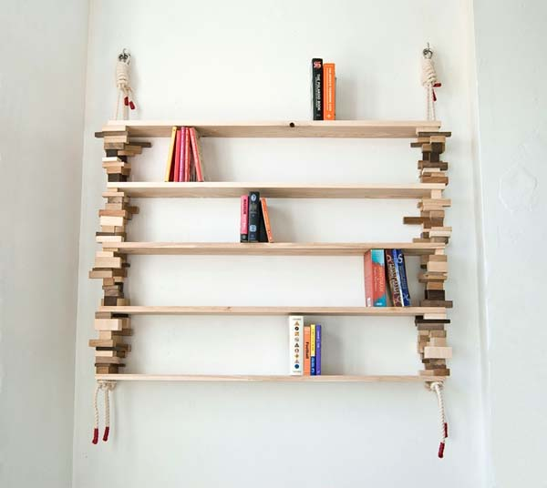 Bookshelves from wood and cotton rope by Amy Hunting 1 Wood bookshelves from wood and cotton rope by Amy Hunting