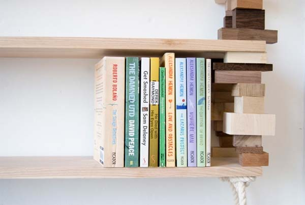 Bookshelves from wood and cotton rope by Amy Hunting 3 Wood bookshelves from wood and cotton rope by Amy Hunting