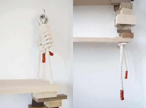 Bookshelves from wood and cotton rope by Amy Hunting 4 Wood bookshelves from wood and cotton rope by Amy Hunting