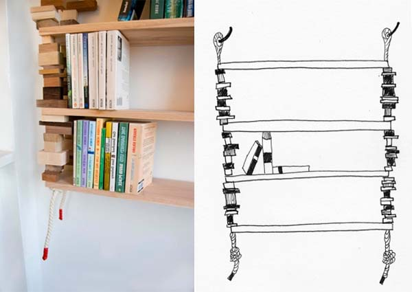 Bookshelves from wood and cotton rope by Amy Hunting 5 Wood bookshelves from wood and cotton rope by Amy Hunting