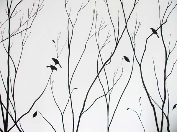 Home wallpaper or painting home walls for Black and white tree wallpaper mural