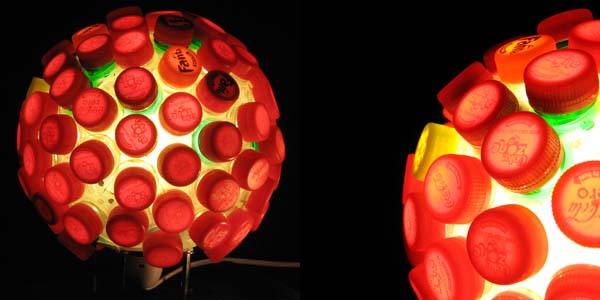 The Captivative lamp lamp made from plastic bottle tops and caps from Lula Dot 3 The Captivative lamp, lamp made from plastic bottle tops and caps from Lula Dot