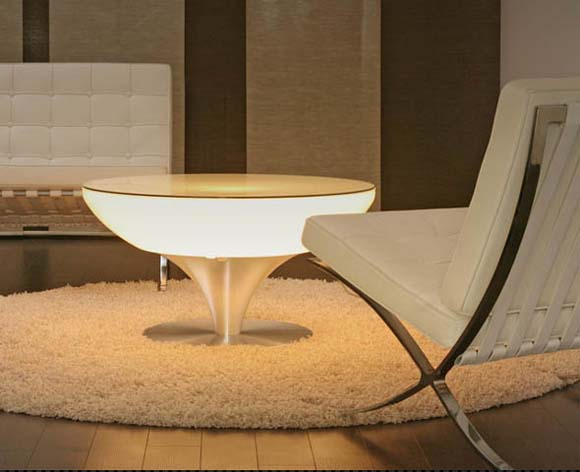 Lounge Table Design Combined With Led Lighting