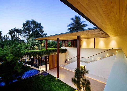 Contemporary L Shaped House In Singapore By Guz Architects