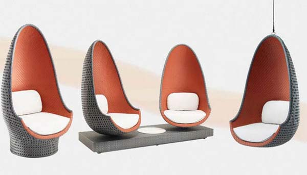 Contemporary Play Lounge Chair inspired by shape of eggs from Dedon 2 Contemporary Play Lounge Chair inspired by shape of eggs from Dedon