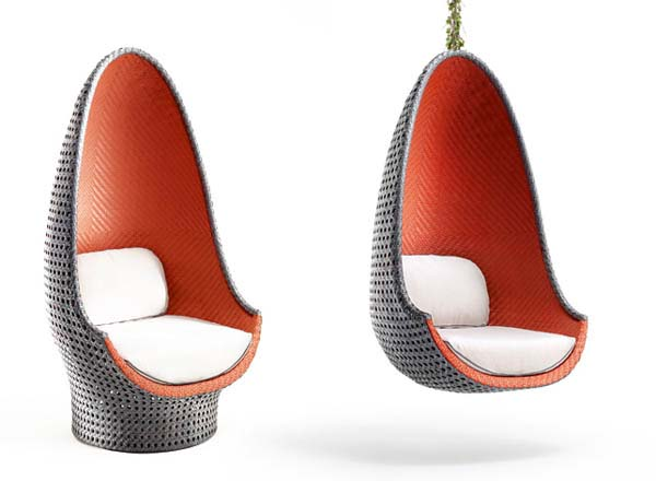 Contemporary Play Lounge Chair inspired by shape of eggs from Dedon 3 Contemporary Play Lounge Chair inspired by shape of eggs from Dedon