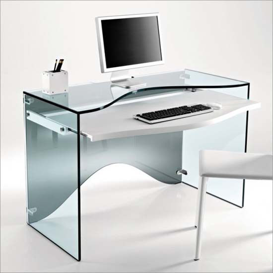 glass computer desk from Tonelli Strata   Glass Computer Desk and or Dressing Desk from Tonelli