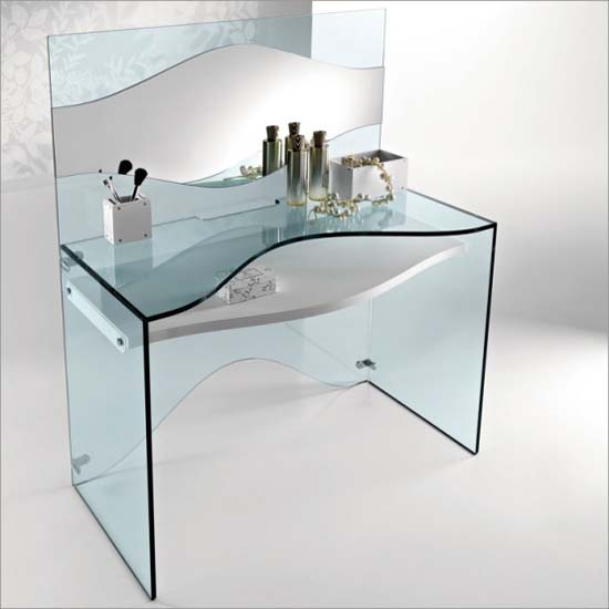 Strata glass computer desk and or dressing desk from tonelli Designer glass computer desk