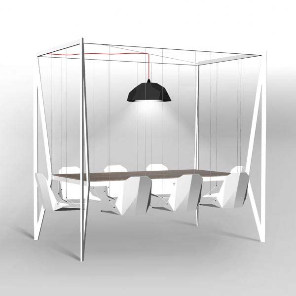 Swing dining room table and chairs from duffy london for Innovative dining table designs