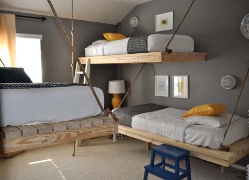 DIY Hanging Beds from The Bumper Crop 1 DIY Hanging Beds for Stylish Boys Bedroom Designs