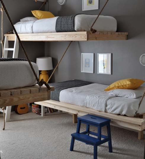 diy hanging beds for stylish boys bedroom designs