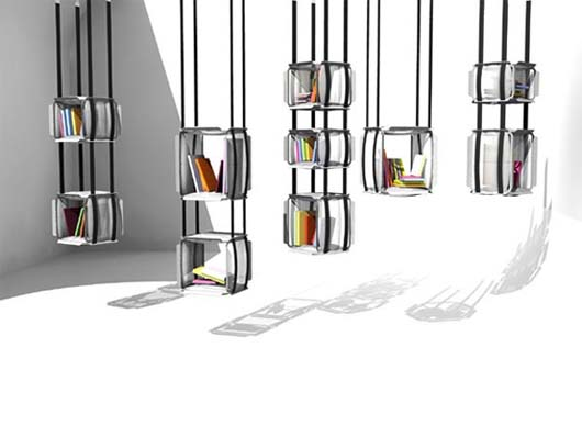 hanging bookcase design by adrien de melo upside down. Black Bedroom Furniture Sets. Home Design Ideas