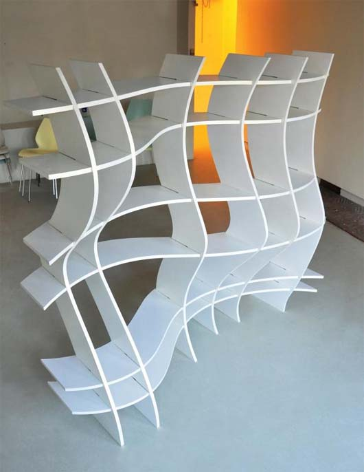 Wavy Shelf by Sang Hoon Kim 2 Wavy Shelf to express the beautifulness of space division