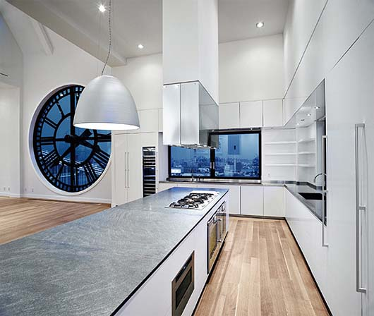"Gaggenau Kitchen by Stefano Vernier ""High Times"" Penthouse kitchen behind the clocks of Brooklyn' s Clock Tower Building"