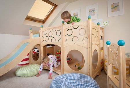 Child\'s bed as well as a playground area